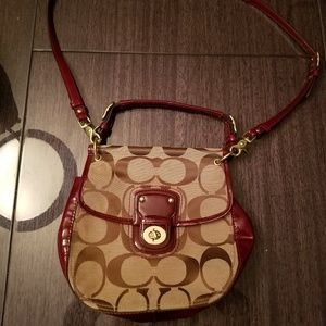 Coach signature candy red cross body bag